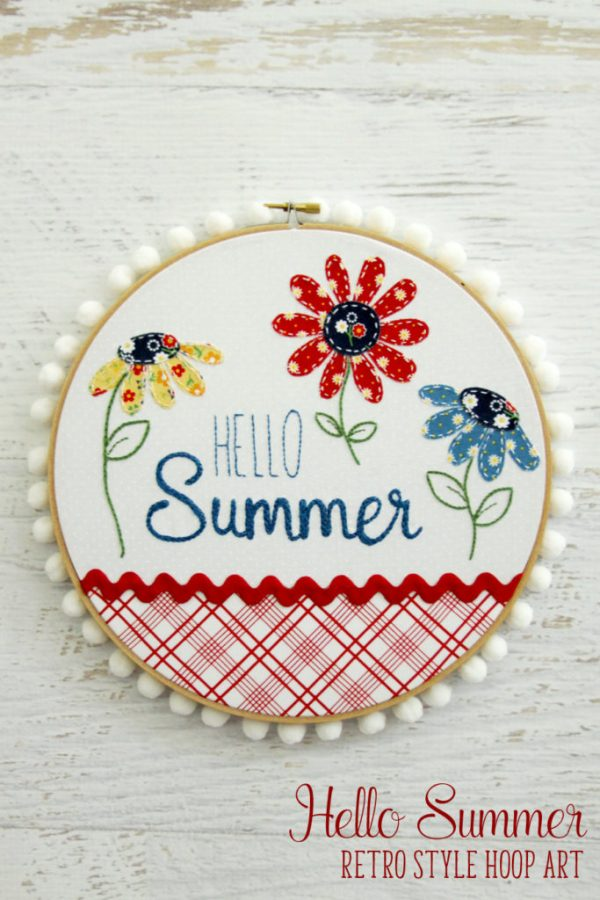 Hello Sumer Retro Style Hoop Art from Flamingo Toes