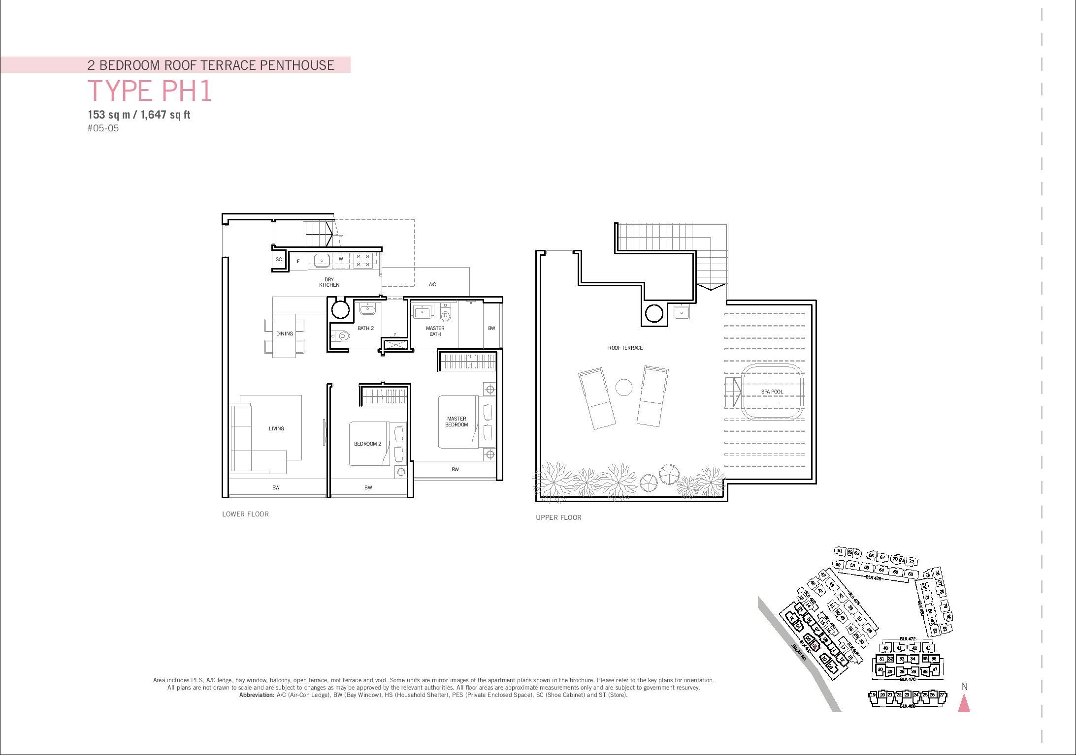 Flamingo Valley 2 Bedroom Type PH1 Floor Plans