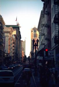 Sun going down in San Francisco