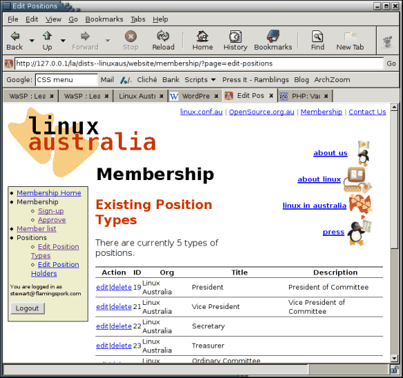 Screenshot of an Early effort at integrating LA's website with MemberDB