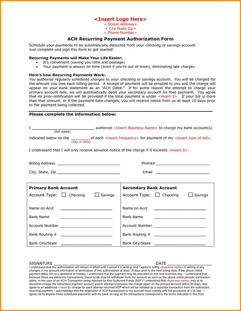Recurring payments will make your life easier:. Vendor Ach Authorization Form Unique Recurring Payment Authorization Form Beautiful Fancy Ach Form Models Form Ideas