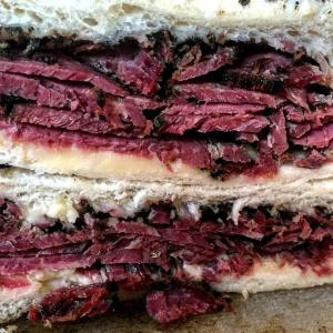home made pastrami on white