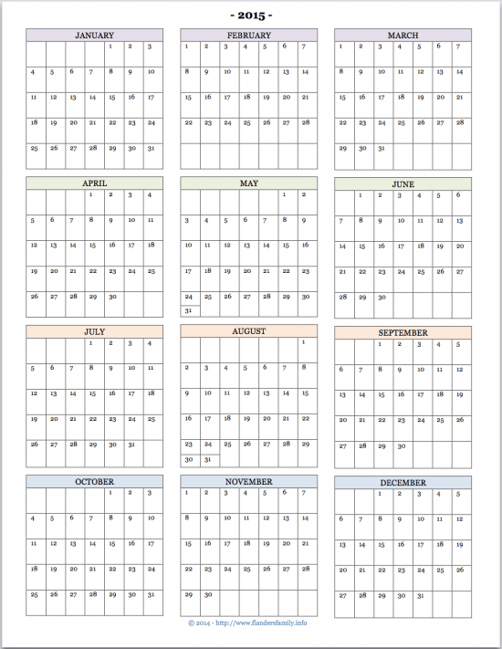Free Printable 2015 Calendars | The Flanders Family Website