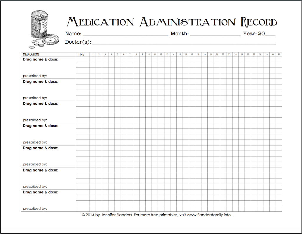 Keeping Track of Medications (Free Printable Chart