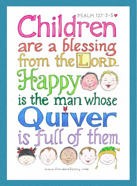 """Free Printable """"Children are a Blessing"""" graphic for your little ones to color 