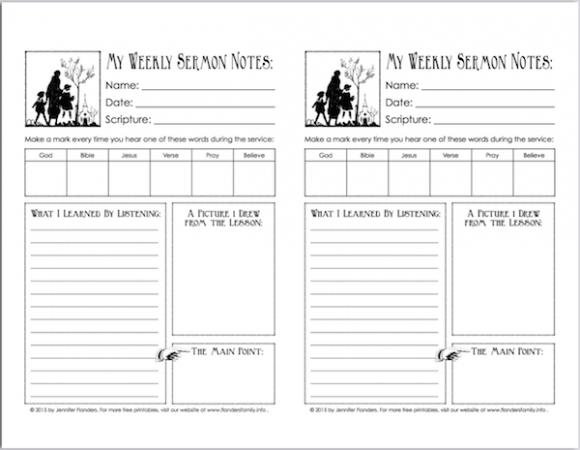 Sermon Notes Printable for Children | Flanders Family Homelife