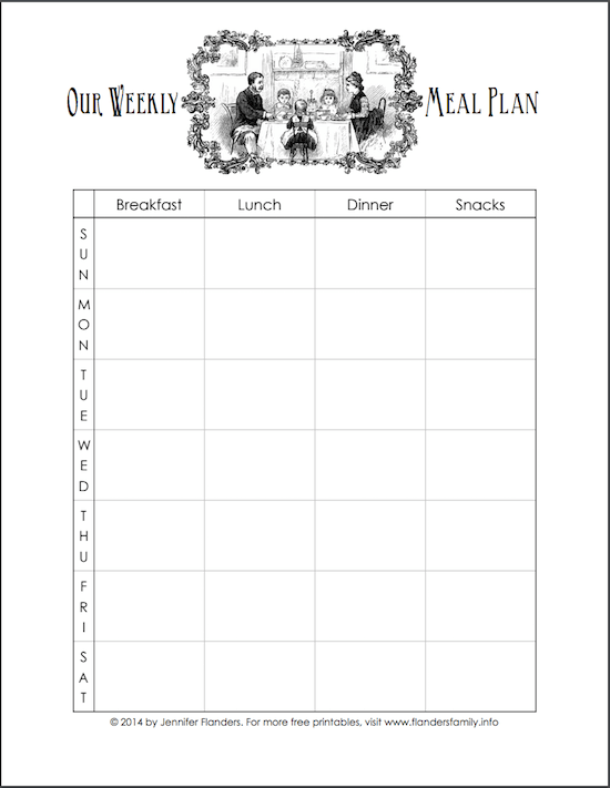 Free printable meal plan chart -- pretty!