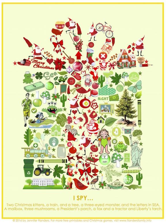 It is a graphic of Astounding Christmas I Spy Printable