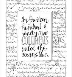 Printable Columbus Day Coloring Worksheets   Printable Worksheets and  Activities for Teachers [ 1319 x 1024 Pixel ]