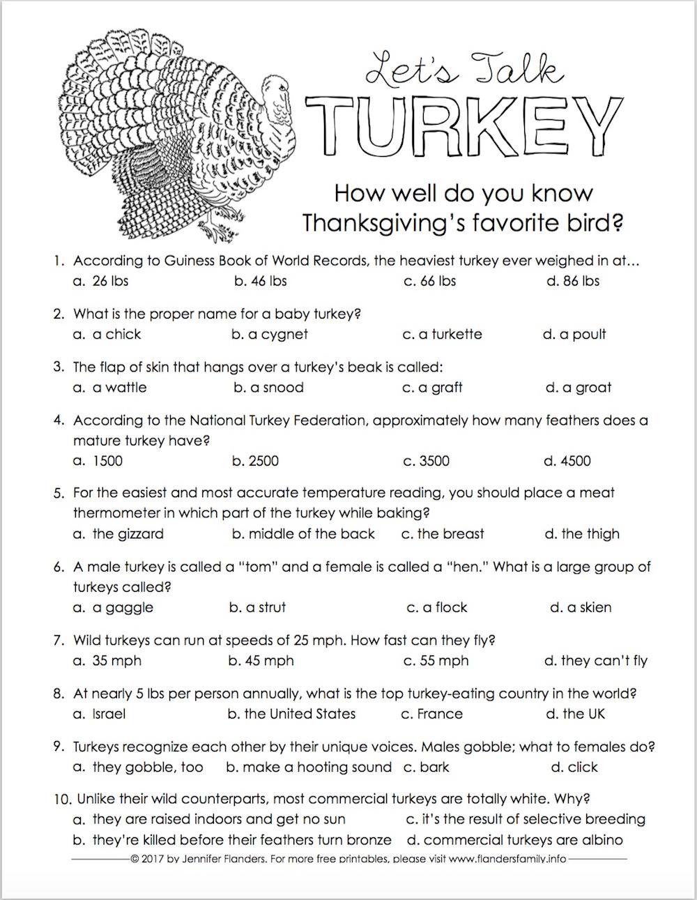 Thanksgiving | Trivia Quiz | Free Printable