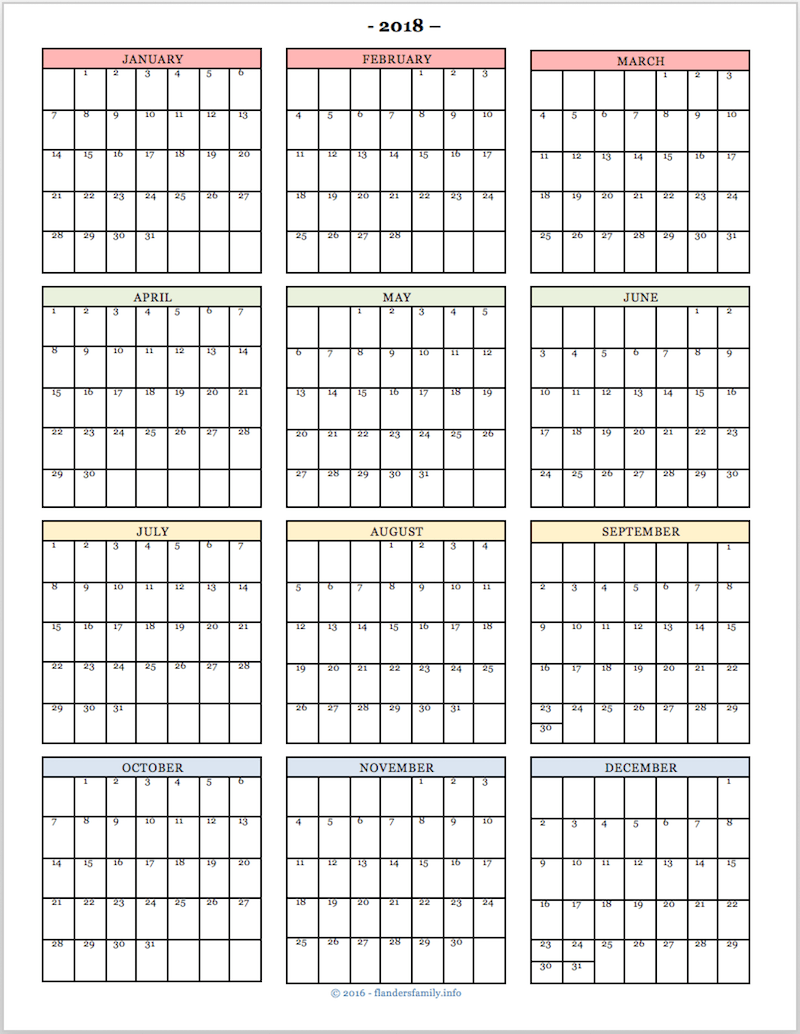 Family Calendar 2018 Printable : Start the new year right with a free printable habit