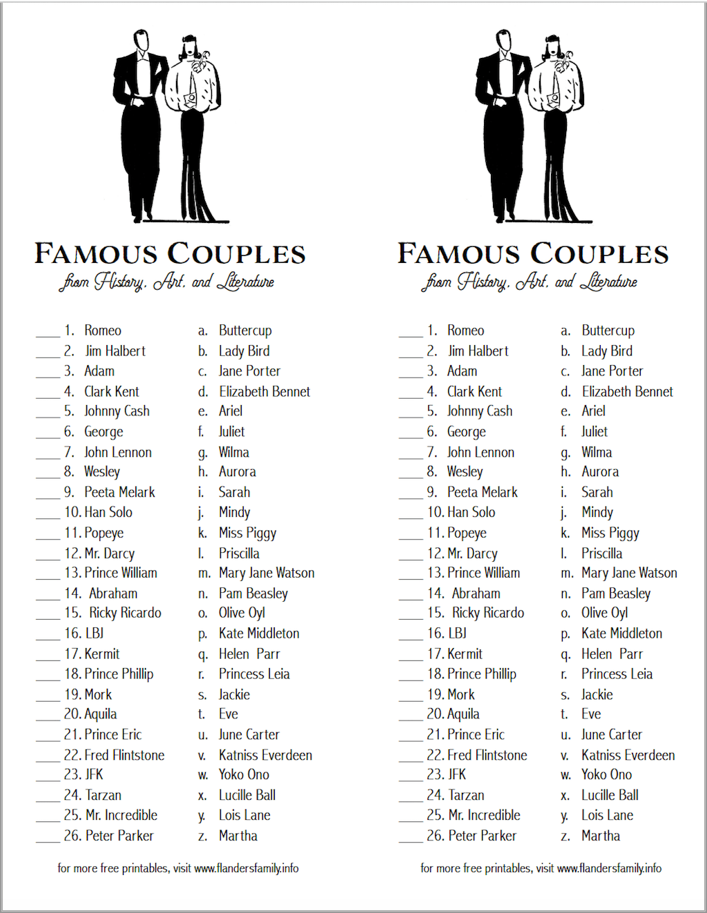 Famous Couples Matching Game