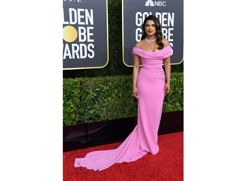 Priyanka Chopra wears a pink gown on the Golden Globes 2020 red carpet