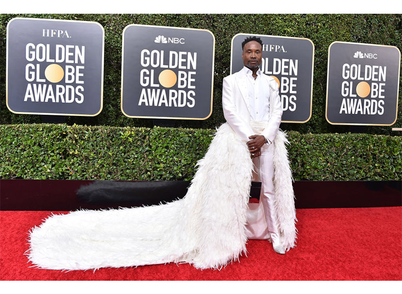 Billy Porter wears a white suit on the Golden Globes 2020 red carpet