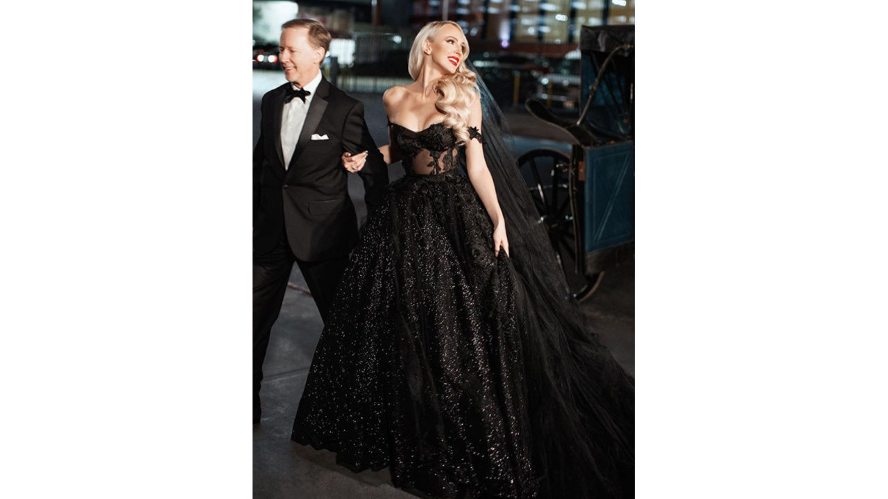 christine quinn outfits: black wedding dress