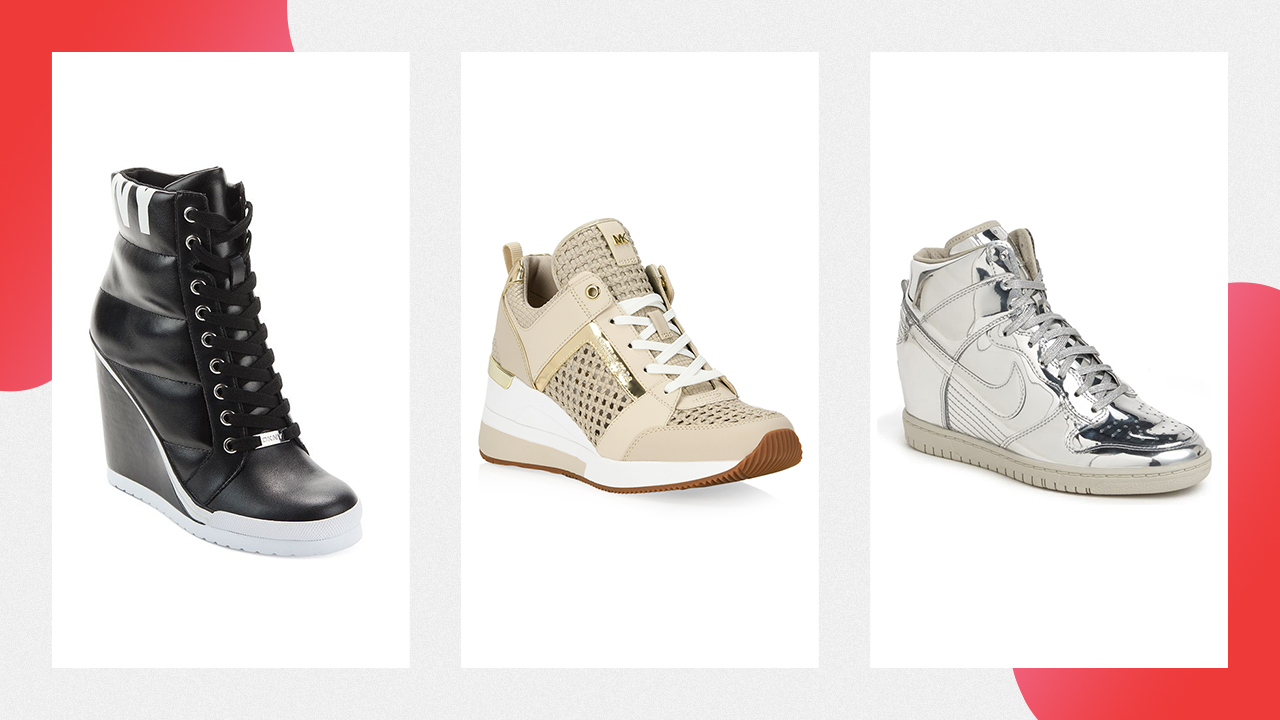 Three examples of wedge sneakers