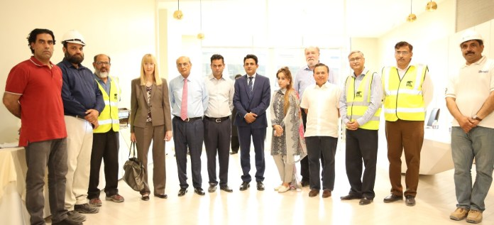 Ambassador of the Federal Republic of Germany, Ms. Ina Lepel, Chairman Nishat Group, Mr. Mian Mohammad Mansha, CEO Pakistan Aviators & Aviation, Mr. Mian Hassan Mansha, Special Assistant to Punjab Chief Minister on Energy, Mr. Shahid Riaz Gondal, CEO Nishat Hotels and Properties, Ms. Iqraa Mansha and other guests at Pakistan's groundbreaking retail platform Emporium Mall.