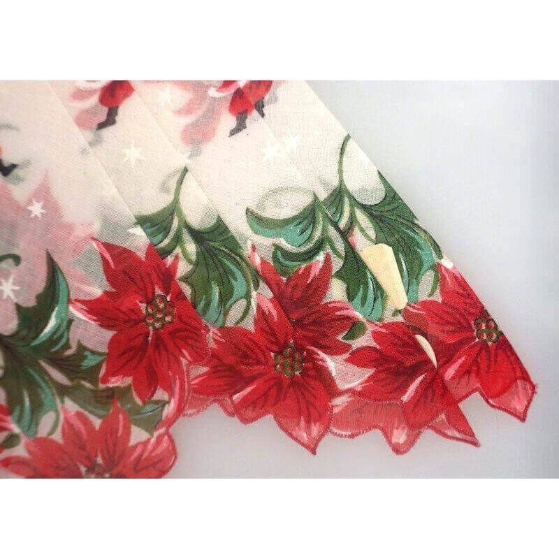 Christmas Poinsettia Vintage Santa Handkerchief Birthday