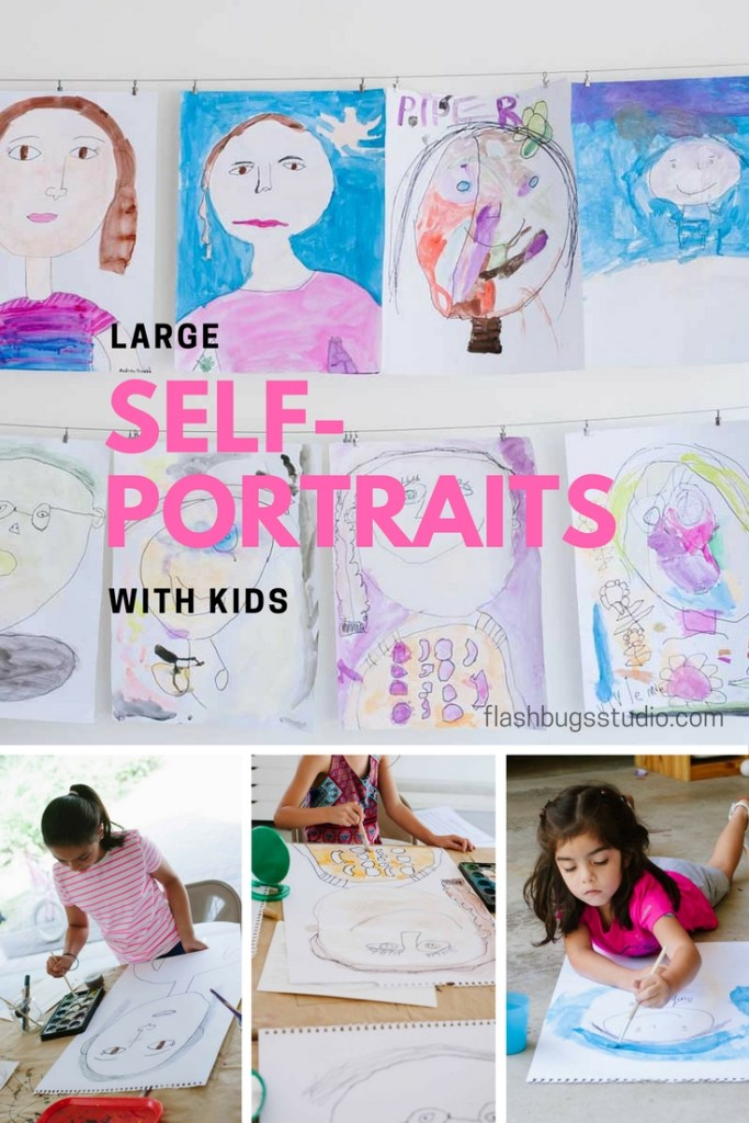Make large self-portraits with kids.