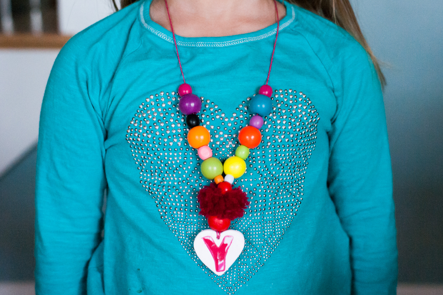 Make easy monogrammed kids' friendship necklaces with polymer clay.