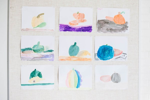 Make beautiful gourd and pumpkin watercolor paintings with kids.