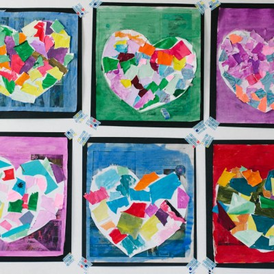 Make awesome and colorful Valentine's Paper Collage with your early elementary students or kids. This is a fun and easy Valentine's Day Party project!