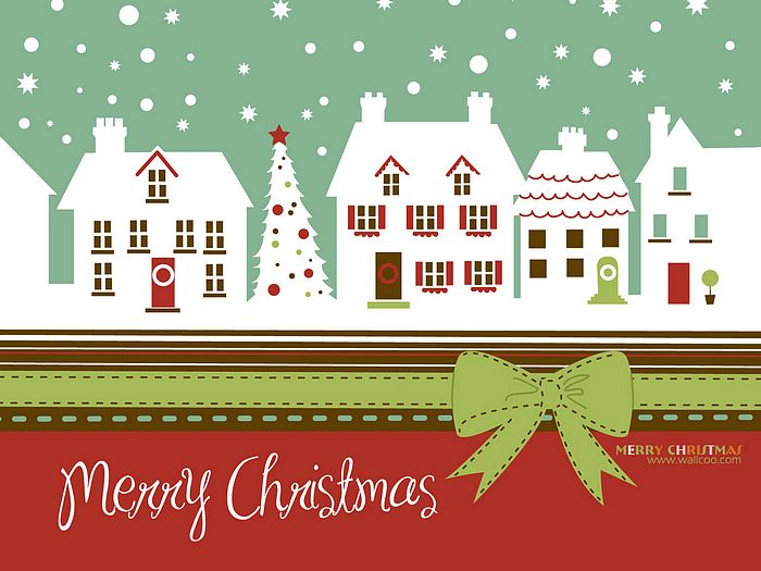 Cute Snowman Christmas Wallpaper Christmas Card White Christmas Town In Winter Wallpaper