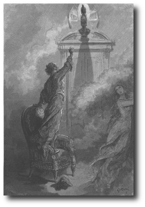 """Artworkcreated by Gustave Doré for an 1884 illustrated edition of """"The Raven"""". It is in the public domain, and comes to us courtesy of ."""
