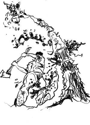 Lumberjack chopping down a dryad