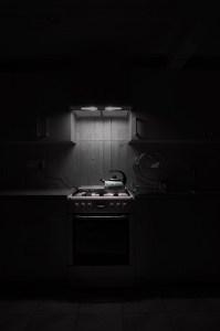 Oven range in darkness
