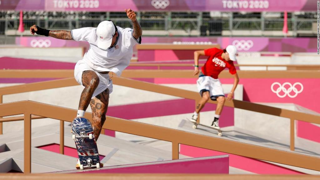 Nyjah Huston (left) and Jagger Eaton (right) of Team United States practice on the skateboard street course ahead of the Tokyo Olympic Games.