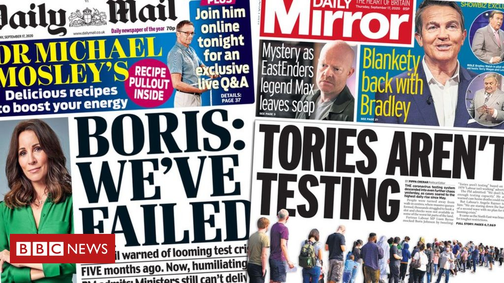 Newspaper headlines: PM's 'embarrassing' test admission and schools warning