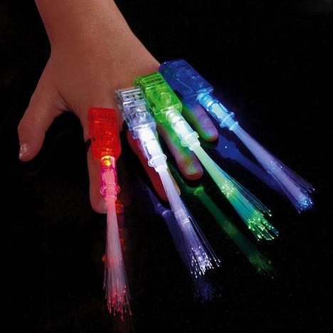Fiber Optic FingerBeams Finger Ring Lights  4 pack