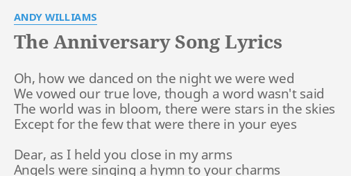 the anniversary song lyrics