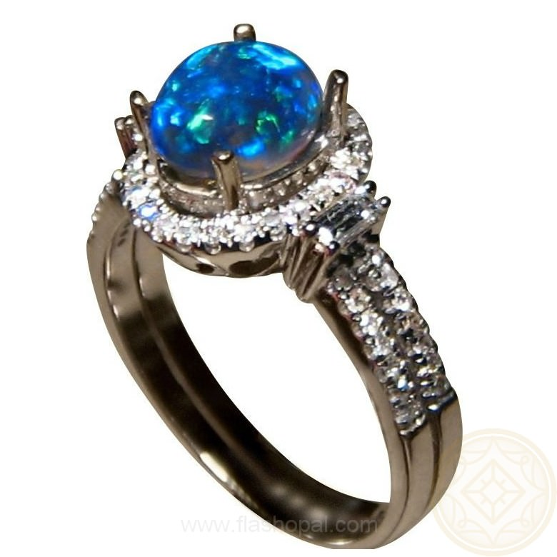 Semi Black Opal Diamond Ring Blue Oval Black Opal Rings