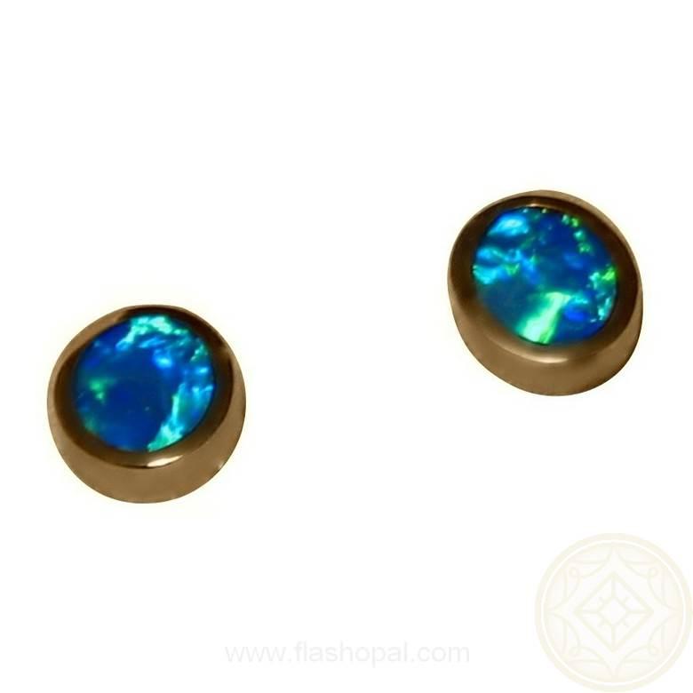 Opal Earrings 14k Studs Green Blue Opal Earrings FlashOpal