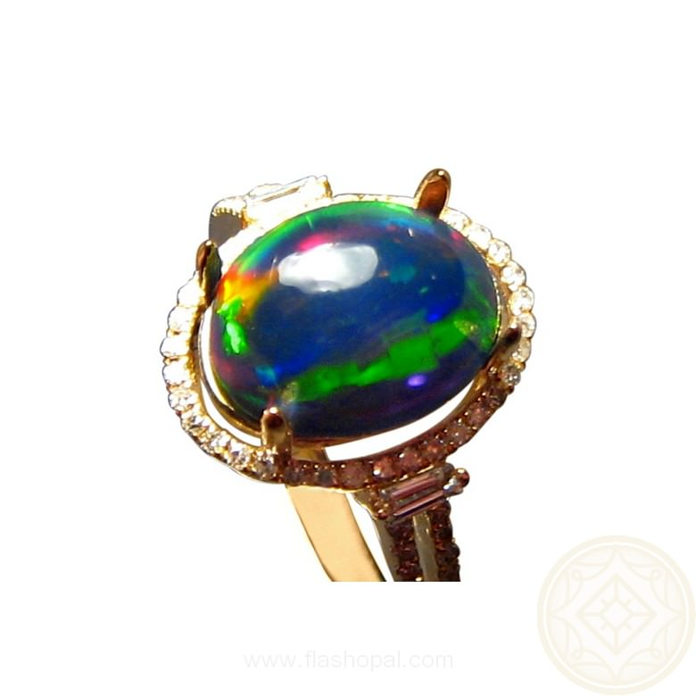 Welo Black Crystal Opal Ring With Diamonds 14k Gold