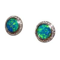 Green Opal Diamond Earrings 14k Round - Opal Earrings ...