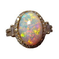 Opal Diamond Ring 14k Gold Orange Red Oval - Opal Rings ...