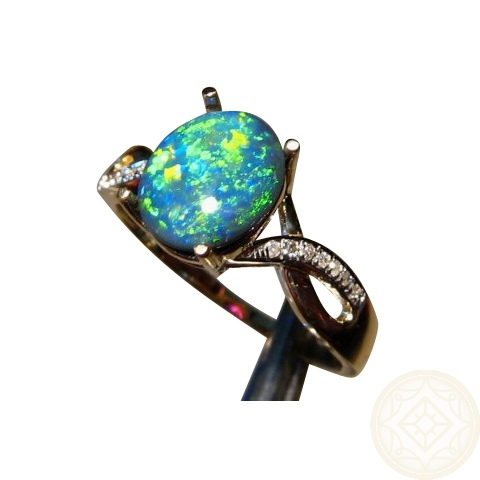 Black Opal And Diamond 14k Gold Ring FlashOpal