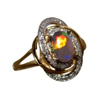 Harlequin Opal Ring with Diamonds in 14k Gold | FlashOpal
