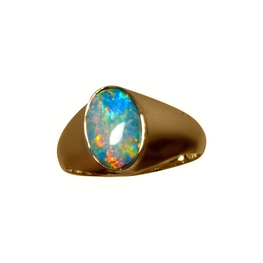 Mens Solitaire Opal Ring 14k Gold Opal Rings FlashOpal
