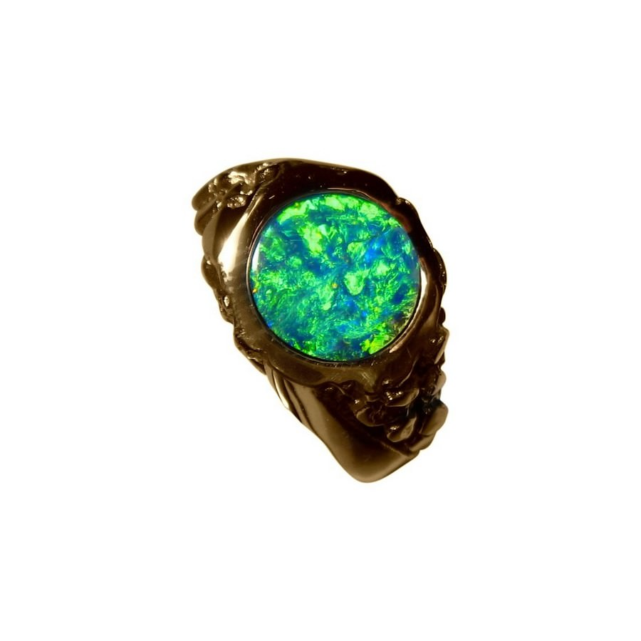 Mens Green Opal Ring Heavy 14k Gold Opal Ring Men