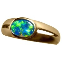 Oval Opal Ring 14k Gold Split Band - Inlay Opal Rings ...