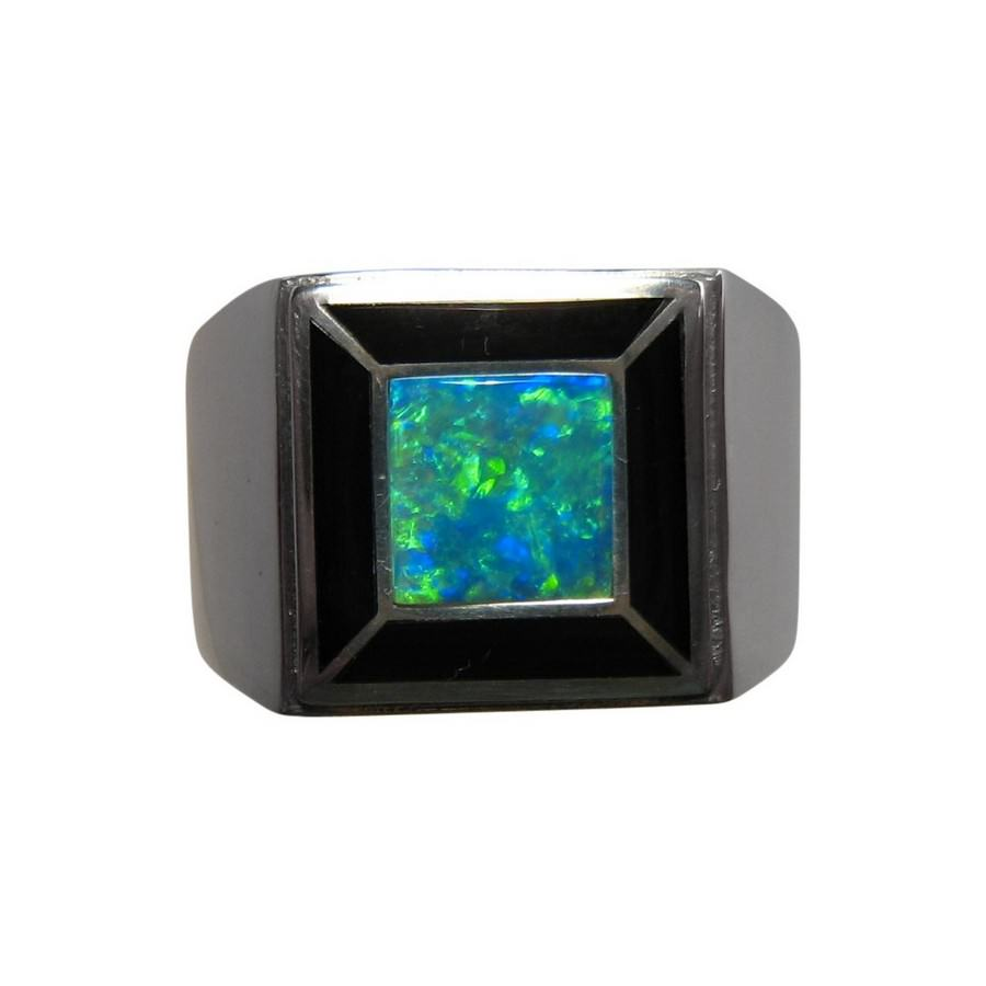 Mens Opal And Obsidian Ring 14k Gold FlashOpal
