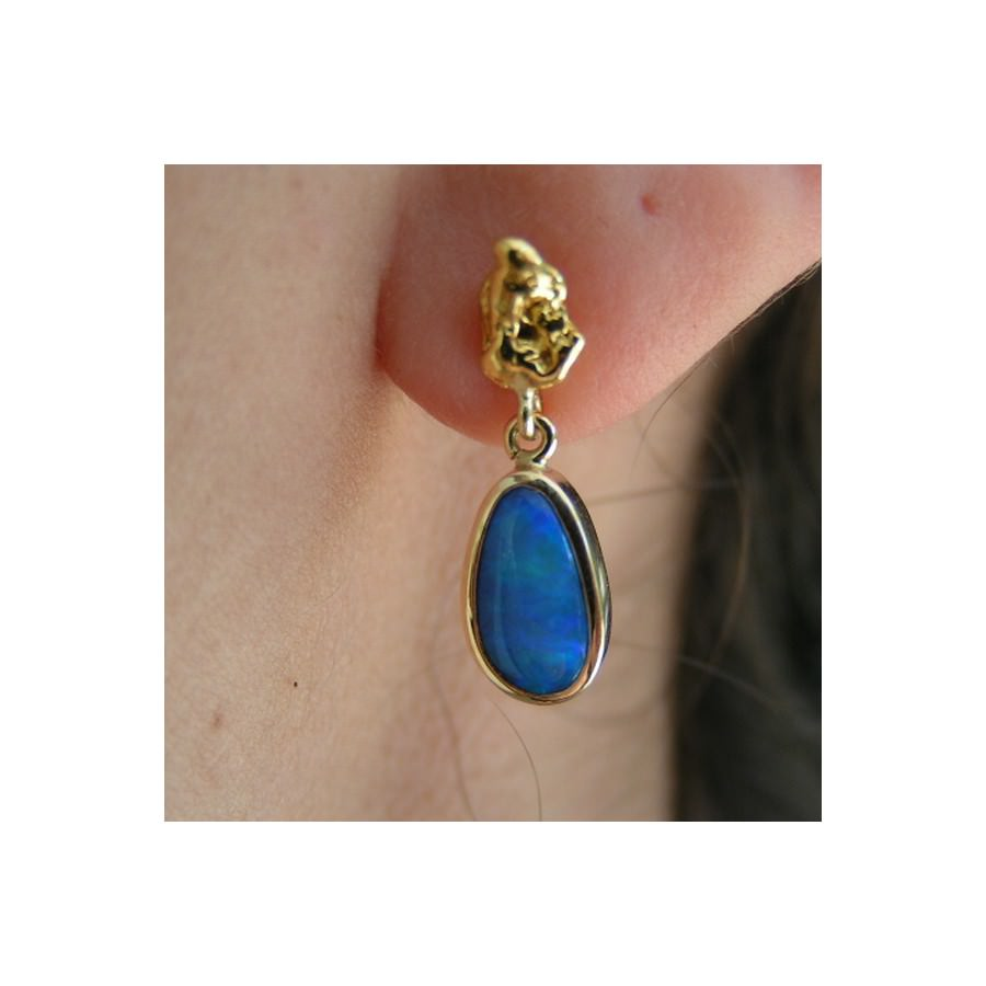 Blue Opal Earrings Gold Nugget 18k Artisan Opal Earrings