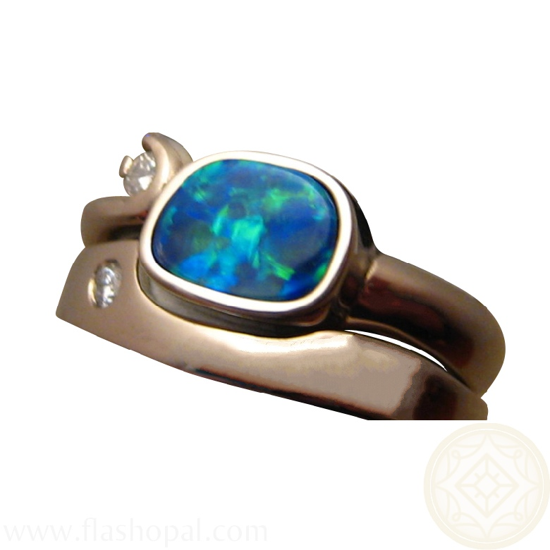 Opal Engagement Wedding Ring With Diamonds FlashOpal
