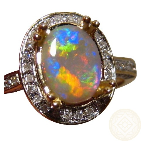 Opal Diamond Ring 14k Gold Colorful Oval Opal Rings FlashOpal