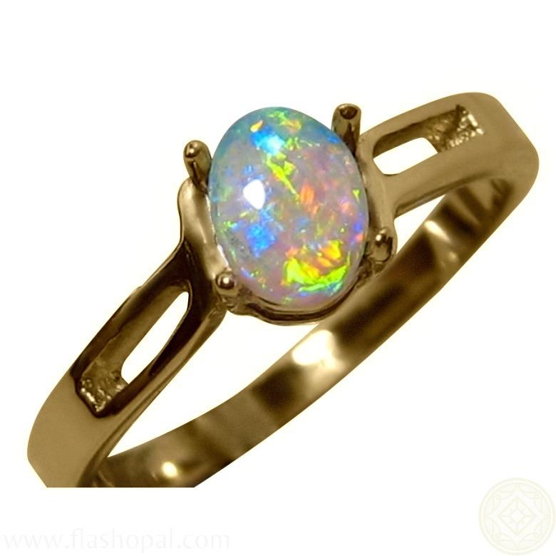 Gem Crystal Opal Gold Ring FlashOpal