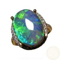 Big Green Black Opal Ring Diamonds 14k Gold | FlashOpal